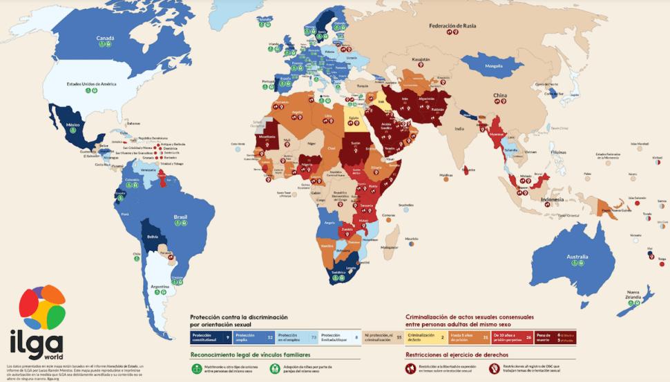 Mapa de la homofobia: Los 70 paises que criminalizan las relaciones homosexuales