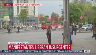 Foto: Manifestantes liberan Insurgentes; continúa cerrado Pase de la Reforma