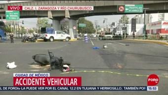 FOTO: Mueren motociclistas en Calzada Ignacio Zaragoza, CDMX, 18 marzo 2019