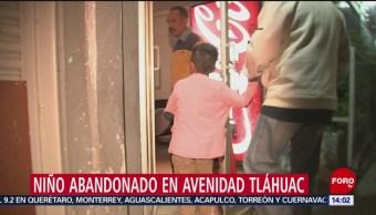 FOTO: Niño abandonado en avenida Tláhuac, 3 marzo 2019