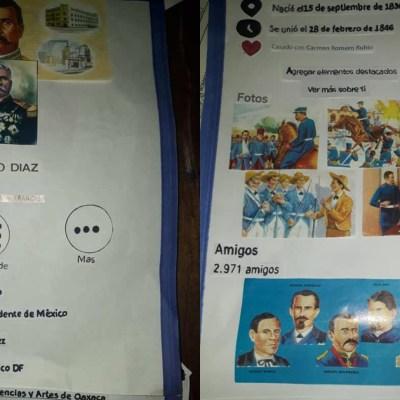 Niño presenta biografía de Porfirio Díaz con imágenes de un perfil de Facebook