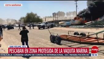 Foto: Pescadores Marinos Enfrentamiento Zona Protegida Vaquita Marina 28 de Marzo 2019