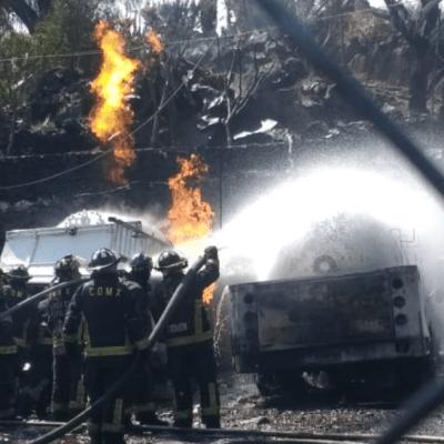 Pipa de gas explota en Milpa Alta, CDMX; hay heridos graves