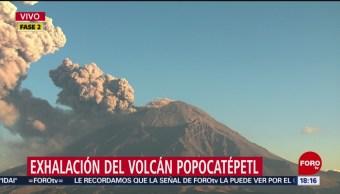 Foto: Popocatépetl emite exhalación de vapor y cenizas