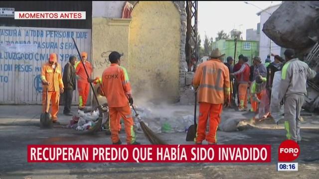 Recuperan predio invadido por personas en situación de calle en CDMX