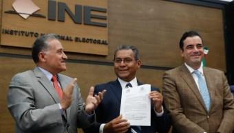 Foto: Alberto Jiménez Merino se registra como candidato del PRI a la gubernatura de Puebla, 20 de marzo 2019. Twitter @ruizmassieu
