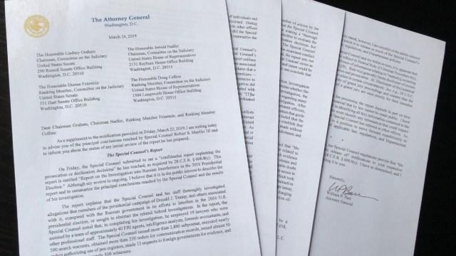 Foto: Carta del Fiscal General de EU, William Barr, a los líderes del Congreso de los Estados Unidos sobre el Informe Mueller, marzo 24 de 2019 (Reuters)