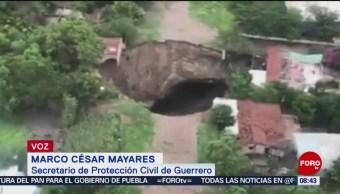 FOTO: Se abre socavón en Coyuca de Catalán, Guerrero, 2 marzo 2019