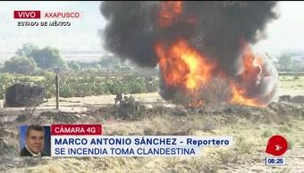 Foto: Se incendia toma clandestina en Axapusco, Edomex
