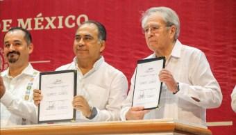 Foto: Jorge Alcocer Varela, secretario de Salud y Héctor Astudillo, gobernador de Guerrero, 6 de marzo 2019. Twitter @HectorAstudillo