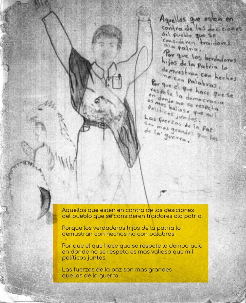 Supuesto dibujo realizado por Aburto del 'Caballero Aguila' (MCCI)