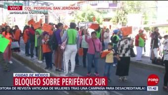 Trabajadores del Cisame bloquean carriles centrales de Periférico Sur