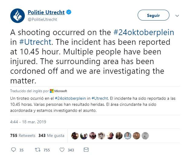 reportan varios heridos por disparos en utrecht holanda