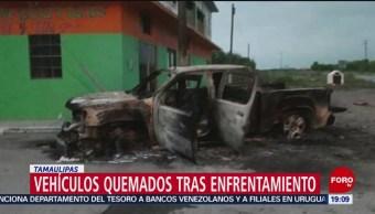 FOTO:Vehículos quemados tras enfrentamiento en Tamaulipas, 23 Marzo 2019
