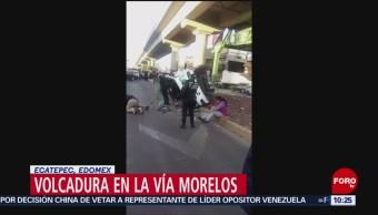 FOTO:Volcadura de camioneta de transporte público en Vía Morelos, Ecatepec, 23 Marzo 2019