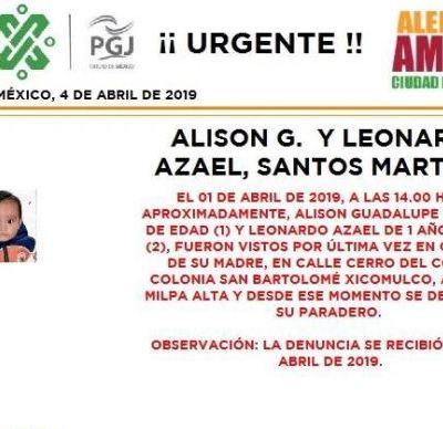Alerta Amber para localizar a Alison Guadalupe y Leonardo Azael Santos Martinez