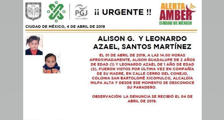 Foto Alerta Amber para localizar a Alison Guadalupe y Leonardo Azael Santos Martinez. 5 abril 2019