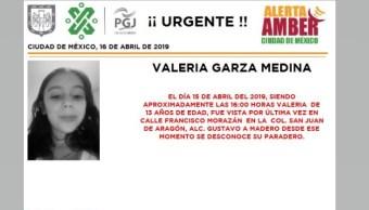 Foto Alerta Amber para localizar a Valeria Garza Medina 16 abril 2019