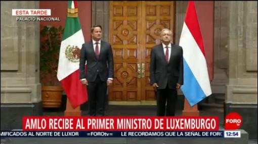 AMLO recibe al primer ministro de Luxemburgo en Palacio Nacional