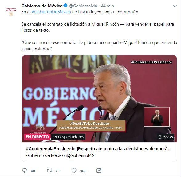 Foto: Gobierno de México anuncia la cancelación de compra de papel con el empresario Miguel Rincón, 26 abril 2019