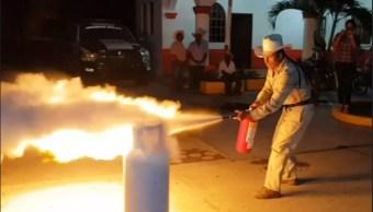 Foto: Capacitación contra fugas e incendios en tanques de gas LP en Oaxaca, 5 de abril 2019. FOROtv.