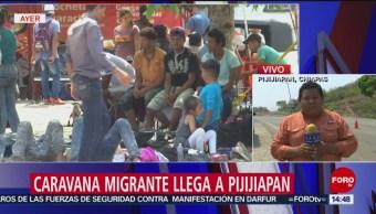 Foto: Caravana migrante llega a Pijijiapan, Chiapas