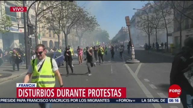 FOTO: Chalecos amarillos provocan disturbios durante sus protestas en Francia, 19 ABRIL 2019