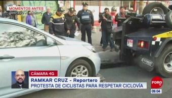 Ciclistas protestan en la Gustavo A. Madero