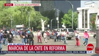 CNTE marcha del Ángel de la Independencia hacia Hemiciclo a Juárez, CDMX