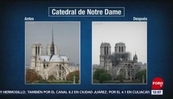 Comparativo de Notre Dame, antes y después del incendio