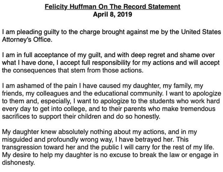 Felicity Huffman se declara culpable en caso de sobornos