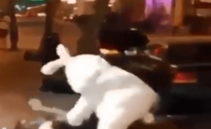FOTO Un hombre disfrazado de conejo de Pascua defiende a golpes a una mujer agredida en Florida (FOROtv)