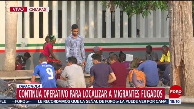 Foto: Continúa operativo para localizar a migrantes fugados en Chiapas