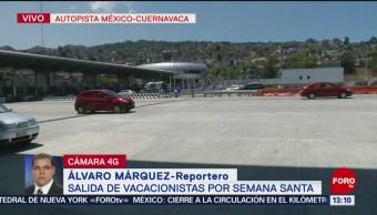 FOTO: Continúa salida de vacacionistas por la México-Cuernavaca, 18 ABRIL 2019