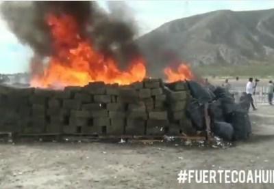 Destruyen drogas y alcohol valuados en 219 mdp en Coahuila
