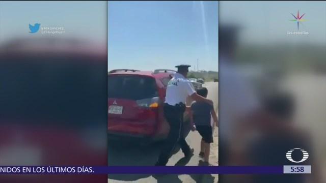 Policía Federal entrega a menor olvidado en tienda de conveniencia en Tabasco