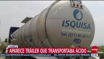 Foto: Encuentran Puebla Tráiler Transportaba Ácido Fosfórico 23 Abril 2019