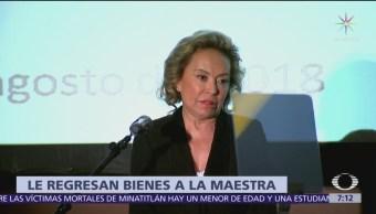 Fiscalía devuelve bienes asegurados en 2013 a Elba Esther Gordillo