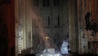 Foto: Imagen al interior de la catedral de Notre Dame en París, Francia, tras incendio. El 15 de abril de 2019
