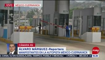 Foto: Grupo de manifestantes toman caseta en la autopista México-Cuernavaca