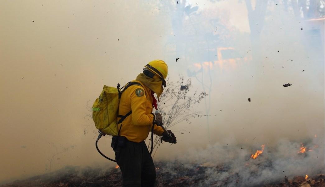 Foto: combate de incendio forestal, 11 de abril 2019. Twitter @CONAFOR