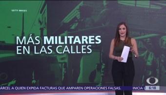 Incrementa número de militares en calles durante administración de AMLO
