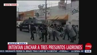 FOTO: Intentan linchar a tres presuntos ladrones en Acajete, Puebla, 28 ABRIL 2019