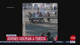 Foto: Jóvenes golpean a turista en playa de Veracruz