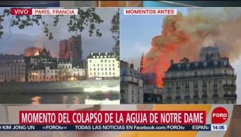 Foto: Momento del colapso de la aguja de Notre Dame