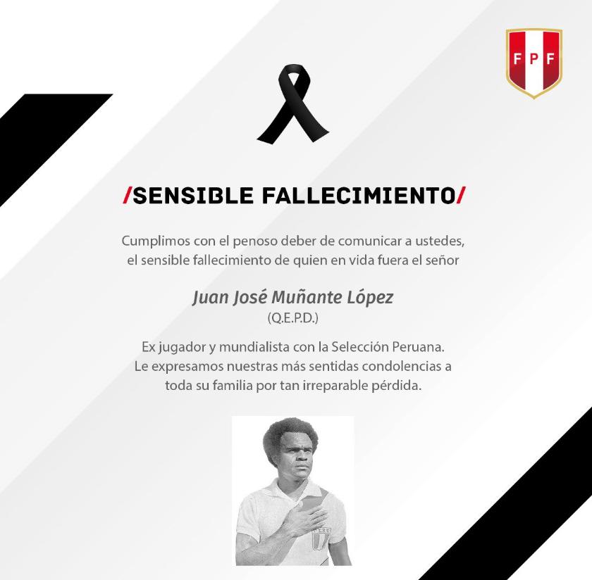 IMAGEN Muere Juan José 'La Cobra' Muñante, jugador histórico de Pumas (Twitter Federación Peruana de Futbol 23 abril 2019)