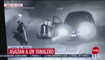 Foto: Ni el tamalero se salva de ser asaltado en Chiconautla, Edomex