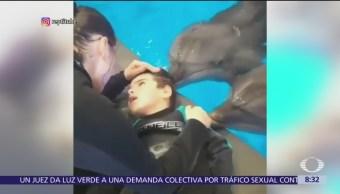 FOTO: Niño con parálisis recibe delfinoterapia, 19 ABRIL 2019
