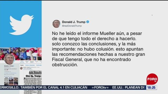 FOTO: No he leído el informe Mueller aún, dice Trump, 6 de abril 2019