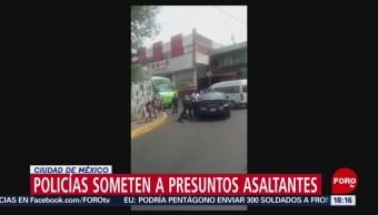 FOTO: Policías someten a presuntos asaltantes en Ciudad de México, 27 ABRIL 2019